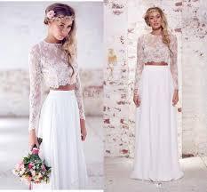 2017 two pieces crop top beach bohemian wedding dresses chiffon