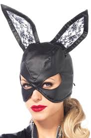 bunny mask black leather lace ears bunny mask masquerade express