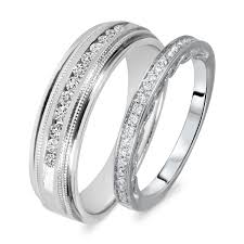 wedding sets his and hers 3 8 carat t w cut diamond his and hers wedding band set 14k
