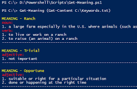 Suitable Meaning by Powershell Using Online Dictionaries To Data Mine Word Meanings