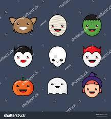 Monster Faces For Halloween Cute Kawaii Halloween Icons Set Funny Stock Vector 316613426
