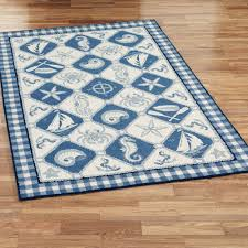 Nautical Themed Rugs Rectangle Blue And White Sea Animal With Cube Accent Of Nautical
