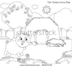 coloring vector pigs straw stock vector 601071719