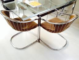 Vintage Designer Chairs Set Of Two Vintage Designer Chairs Chrome Tubes And Original