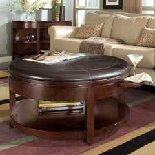 Leather Top Coffee Table Living Room Round Storage Ottoman With Tray Faux Leather Storage