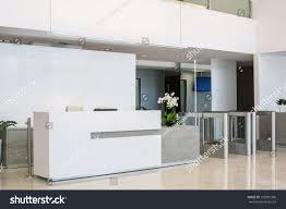 Modern Style Desks by Front Desk Business Center Modern Style Stock Photo 152981306