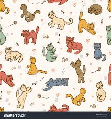Wallpaper For Children Colored Cats Vector Seamless Pattern Hand Stock Vector 342745412