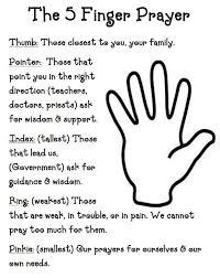 doing it for our children church lesson printable 5 finger prayer