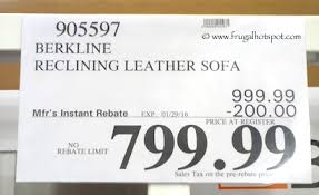 Berkline Leather Reclining Sofa Costco Sale Berkline Leather Reclining Sofa 799 99 Frugal Hotspot