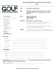 Golf Tournament Sign Up Sheet Template 100th Anniversary Golf Tournament Utica Zoo