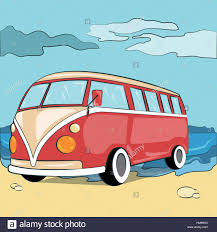 Retro Camper Camper Vector Illustration Retro Motorhome For Surfers On