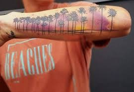 cool colored with palm trees on arm tattooimages biz