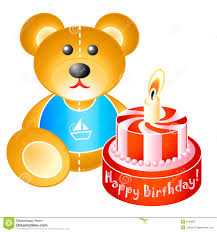 birthday teddy bear with cake royalty free stock photo image