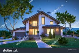 3d rendering modern cozy house chalet stock illustration 670197799