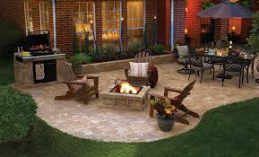Nice Backyard Nice Backyard Patio On Pavers With Bbq Pit And Table For Dining