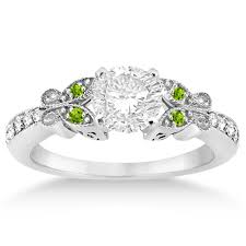 peridot engagement rings butterfly diamond peridot engagement ring 14k white gold 0 20ct