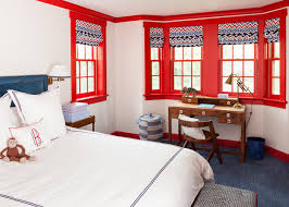 Blue And Red Boys Bedroom Red And Blue Boys Bedroom With Desk Under Bay Window