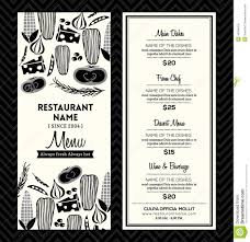 black and white restaurant menu design template layout stock