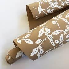gift wrap bonnie kaye studio eucalyptus gift wrap kraft white typo market