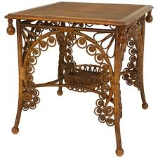 wicker end tables sale 19th century american scrolling natural wicker end table by the