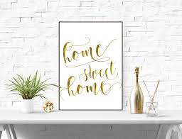 home sweet home modern decor calligraphy print gold foil wall art