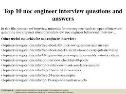 Noc Resume Examples by Top 10 Noc Engineer Interview Questions And Answers