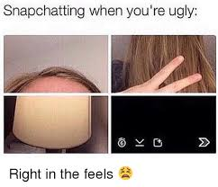 Right In The Feels Meme - snapchatting when you re ugly o v right in the feels meme on sizzle