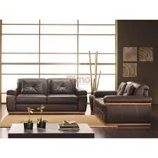 canape cuir et bois ensemble canapés design contemporain cuir et bois apparent olivier