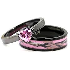 black and pink wedding ring sets black plated pink camo wedding ring set pink heart