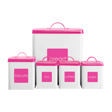 pink kitchen canister set tea coffee sugar biscuits bread bin pink white canisters