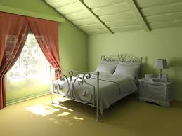 bedroom picture design with soft green wall painting and bright