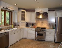 cheap kitchen remodel white wooden cabinet gas range vintage wall