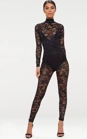 high neck jumpsuit black lace high neck jumpsuit prettylittlething