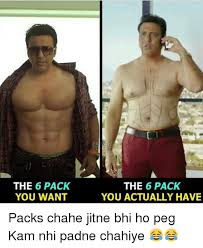 Pegging Meme - the 6 pack you want the 6 pack you actually have packs chahe jitne