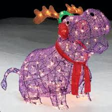 Lighted Outdoor Christmas Decorations by Trim A Home 27 U201d Lighted Hippo With Antlers Outdoor Christmas