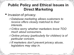 ethical issues in marketing direct and online marketing building direct customer relationships