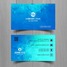 Round Business Cards Uk Modern Blue Business Card With Watercolors Vector Free Download