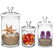 clear kitchen canisters set of 3 clear glass kitchen bath storage canisters