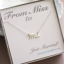bridal gift mrs script necklace sterling silver cursive mrs word jewelry