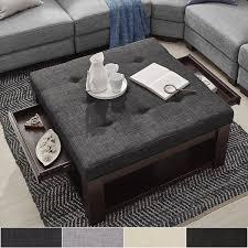 lennon espresso square storage ottoman coffee table by inspire q