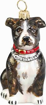 pit bull ornament glass brindle pit bull