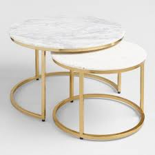 round white wood coffee table round white marble brass nesting tables