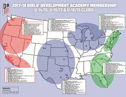 Chester Pa Map Map Of Girls U0027 Development Academy Regional Divisions U2014 Soccer Wire