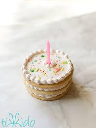 small cake stacked sugar cookie miniature birthday cake tikkido