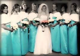 tiffany blue and silver bridesmaid dresses