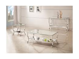 coaster 72033 metal coffee table with glass top and mirrored shelf