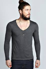 boohoo mens basic long sleeve deep v neck t shirt ebay