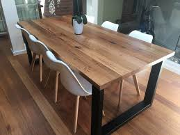 Reclaimed Timber Dining Table Melbourne Recycled Timber Table With Modern Box Legs Custom Made