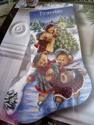 dimensions gold collection victorian bears christmas stocking 8753