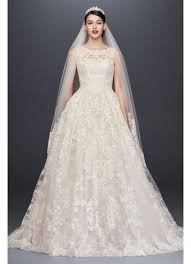 wedding dress images beaded lace wedding dress with pleated skirt david s bridal